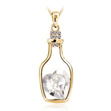 Collar de Cristal Swarovski en Forma de Botella con Baño de Oro 18k