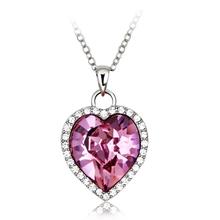 Pink Swarovski Crystals Heart Necklace