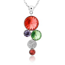 Cute Red Circles Necklace with Swarovski Crystals