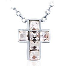 Rhodium Cross with Swarovski Crystal