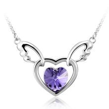 Collar de Cristal Swarovski Color Morado Chapado en Rodio en Forma de Corazón