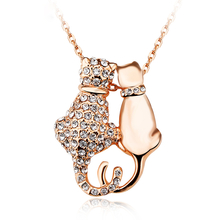 Beautiful Swarovski Double Family Cat Necklace