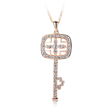 Swarovski Key Necklace with 18K Rose Gold Vermeil