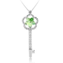 Collar de Llave en Forma de Flor Cristal Swarovski Verde