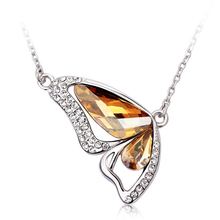 Cute Mixed Color Topaz Butterfly Necklace