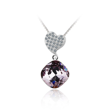 Swarovski Crystals Smokey Cuartz Color Sterling Silver Heart Pendant