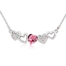 Bonito Collar de Swarovski con Corazón Rosa