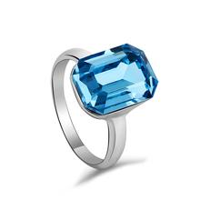 Blue Swarovski Crystal Ring 18K White Gold Plated