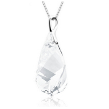 Huge White Swarovski White Crystal Sterling Silver Pendant
