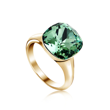 18k Gold Plated Green Swarovski Crystal Ring