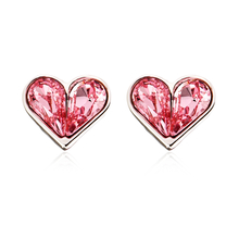 Heart Shaped Swarovski Pink Crystal Earrings