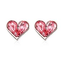 Heart Shaped Swarovski Pink Crystal Earrings
