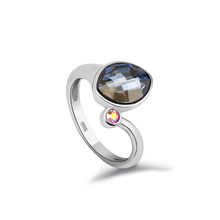 Blue Swarovski Crystal Sterling Silver Ring