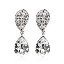 18K White Gold Plated White Swarovski Crystal Earrings