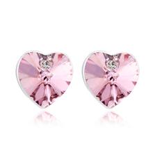 Hermosos Aretes de Cristal Swarovski Color Rosa En forma de Corazón