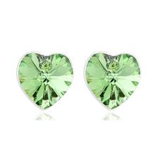 Hermosos Aretes de Cristal Swarovski Color Verde En Forma de Corazón