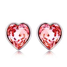 Aretes Rosas de Swarovski con Rodio En Forma De Corazón