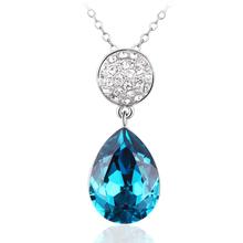 Precioso Collar de Cristal Swarovski Chapado en Rodio Color Azul