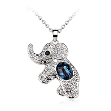 Beautiful Blue and White Swarovski Crystal Elephant Necklace