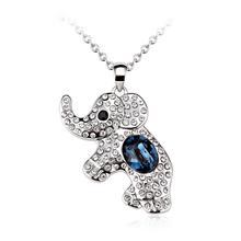 Precioso Collar de Elefante Con Cristal Swarovski Blanco y Azul