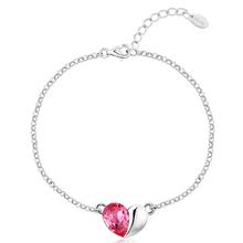 Linda Pulsera Color Rosa con Corazón Swarovski