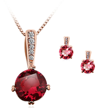 Cute Fiucsa Necklace and Earring Set