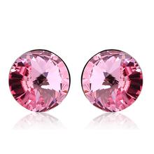 Aretes Solitarios de Color Rosa de Cristal Swarovski