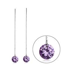 Swarovski Crystal Tanzanite Color Dangling Sterling Silver Earrings