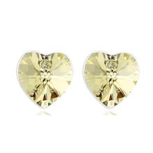 Hermosos Aretes de Cristal Swarovski Ambar Color En Forma de Corazón