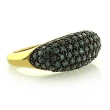 Anillo de Oro Amarillo Macizo 14K con Diamantes Azules