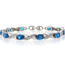 Oval Cut Blue Topaz Brilliant Sterling Silver Bracelet