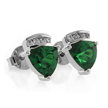 Trillion Cut Emerald .925 Silver Earrings