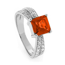 .925 Silver Mexican Fire Opal Ring