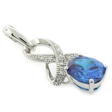 Oval Cut Blue Topaz Silver Fashion Pendant