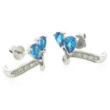 2 Stone Blue Topaz .925 Sterling Silver Earrings