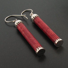 Authentic Red Coral Earrings in .925 Sterling Silver