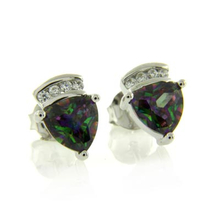 Trillion Cut Mystic Topaz Stud .925 Sterling Silver Earrings