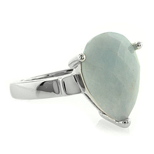 Pear Aquamarine Stone Ring in .925 Silver