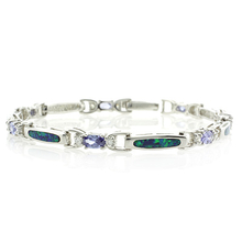 Oval Cut Tanzanite and Australian Opal Silver Bracelet