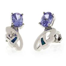 Australian Opal with Oval Cut Tanzanite Silver Earrings