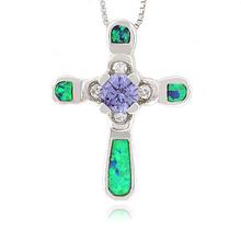Green Opal and Tanzanite Cross Silver Pendant