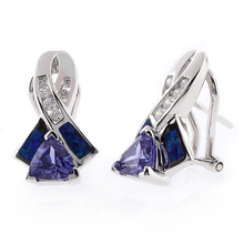 Trillion Cut Tanzanite and Blue Opal Silver Earrings