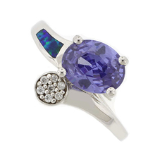Australian Opal Fashion Ring with Tanzanite