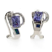 Gorgeous Emerald Cut Tanzanite and Blue Opal .925 Silver Earrings