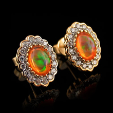 Oval Cut Fire Opal 14K Gold Plated Silver Stud Earrings