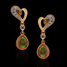 Pear Cut Fire Opal 14K Gold Plated Silver Drop Earrings