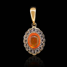 Oval Cut Fire Opal 14K Gold Plated Silver Pendant