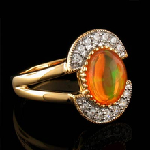 Round Cut Jelly Opal Gold Plated Silver Ring