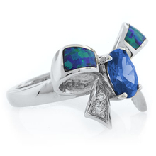 Blue Topaz and Australian Opal Silver Bow Ring