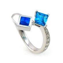 Blue Opal with Blue Topaz Silver Ring